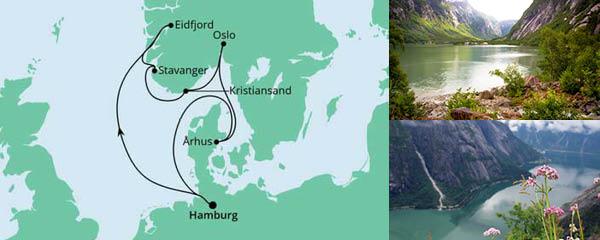 Routenverlauf Norwegens Küste & Dänemark am 12.08.2022