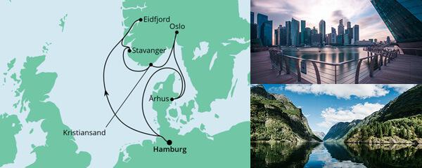 Routenverlauf Norwegens Küste & Dänemark am 01.07.2022