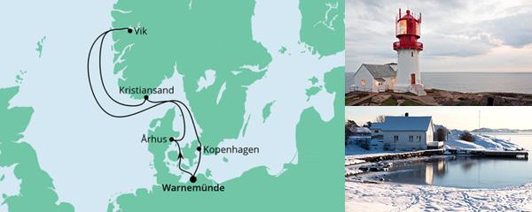 Routenverlauf Norwegen & Dänemark ab Warnemünde am 28.05.2022