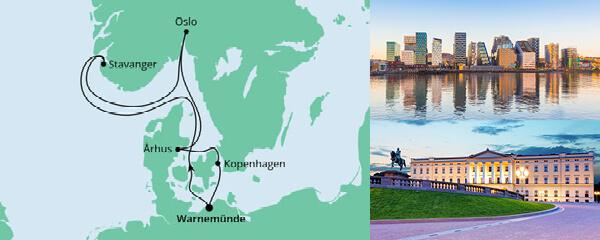 Routenverlauf Norwegen & Dänemark ab Warnemünde am 21.08.2021