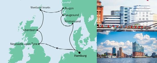 Routenverlauf Großbritannien & Norwegen am 22.07.2022