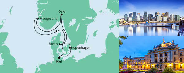 Routenverlauf Norwegen & Dänemark ab Kiel am 15.05.2022