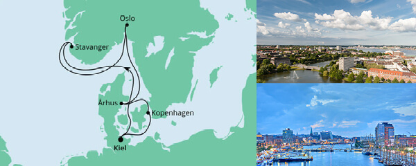 Routenverlauf Norwegen & Dänemark ab Kiel am 05.06.2022