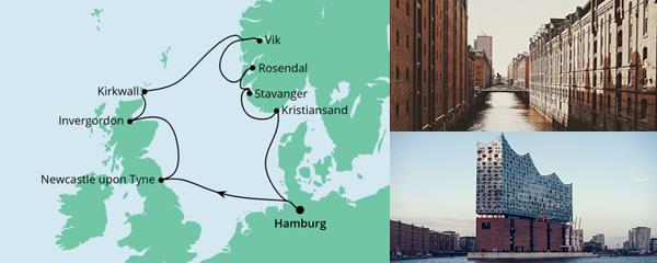 Routenverlauf England, Schottland & Norwegen am 10.07.2022