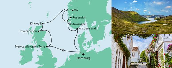 Routenverlauf England, Schottland & Norwegen am 02.10.2022