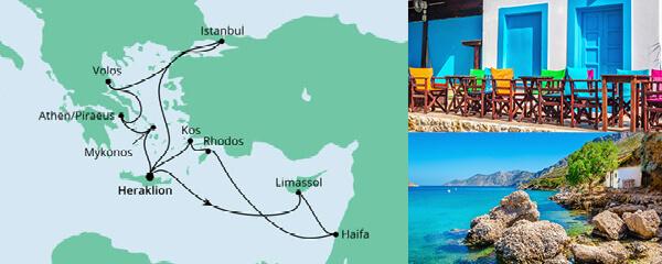 Routenverlauf Agäis & Israel am 08.10.2021