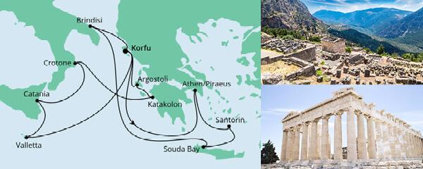 Routenverlauf Griechenland & Mittelmeerinseln am 15.06.2021