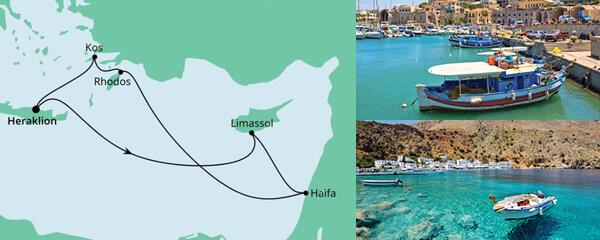 Routenverlauf Griechenland, Zypern & Israel am 02.07.2021