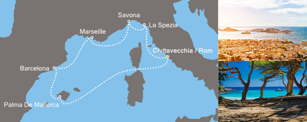 Routenverlauf Zauberhaftes Mittelmeer am 25.01.2019