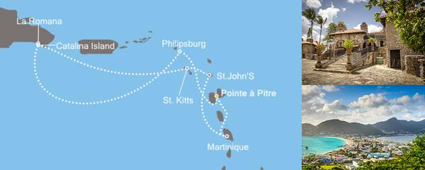Routenverlauf Die Perlen der Karibik am 02.02.2019