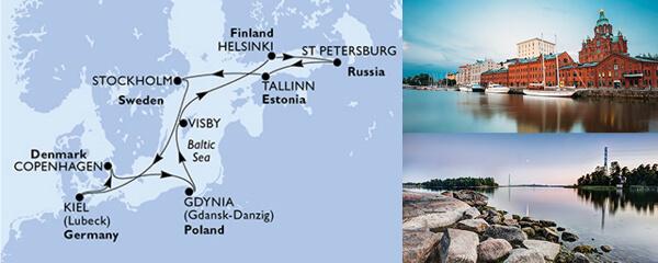 Routenverlauf MSC Nordeuropa mit MSC Splendida