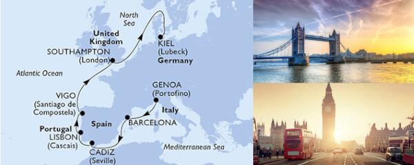 Routenverlauf MSC Westeuropa mit MSC Virtuosa