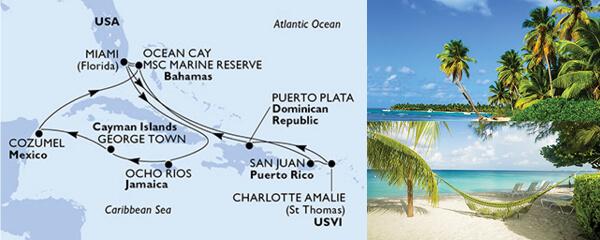 Routenverlauf MSC Karibik mit MSC Meraviglia