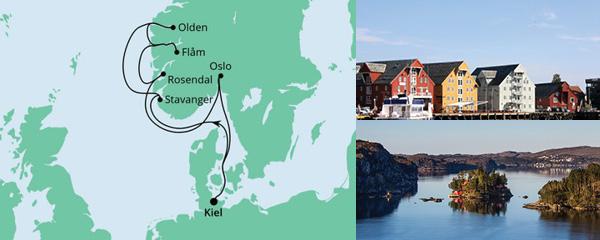 Routenverlauf Norwegens Küste mit Fjorden ab Kiel am 25.08.2021