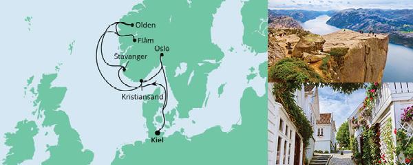 Routenverlauf Norwegens Küste mit Fjorden ab Kiel am 21.09.2021