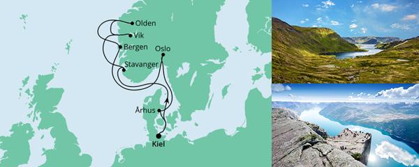 Routenverlauf Norwegens Küste mit Fjorden ab Kiel am 29.09.2022