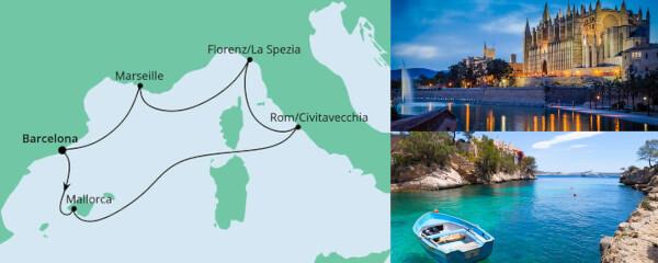 Routenverlauf Perlen am Mittelmeer ab Barcelona am 31.12.2021