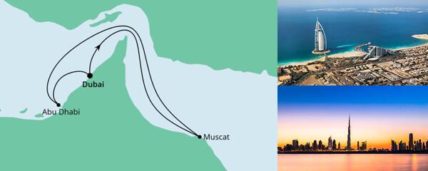 Routenverlauf Orient ab Dubai 1 am 24.12.2021