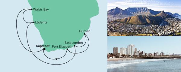 Routenverlauf Südafrika & Namibia am 20.12.2021