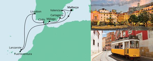 Routenverlauf Spanien, Portugal & Kanaren 1 am 31.10.2021