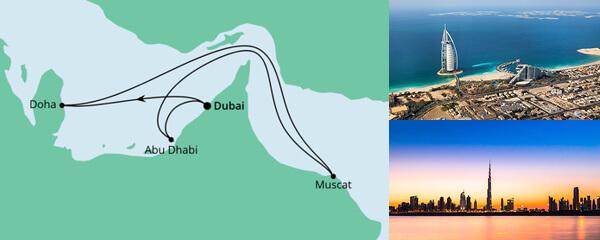 Routenverlauf Orient ab Dubai 2 am 02.04.2022