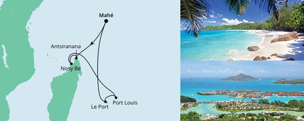 Routenverlauf Mauritius, Seychellen & Madagaskar 2 am 18.01.2022