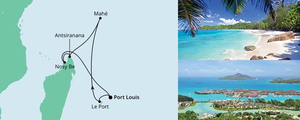 Routenverlauf Mauritius, Seychellen & Madagaskar 1 am 28.12.2021