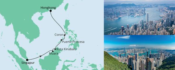 Routenverlauf Brunei, Philippinen & Hongkong am 28.11.2021
