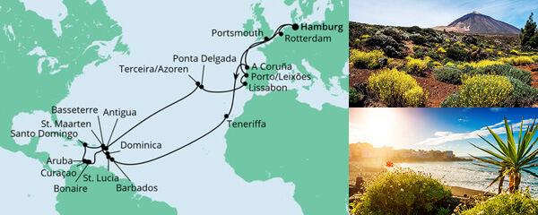 Routenverlauf Große Winterpause Karibik am 07.01.2022