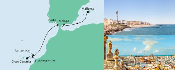 Routenverlauf Von Mallorca nach Gran Canaria am 30.10.2021