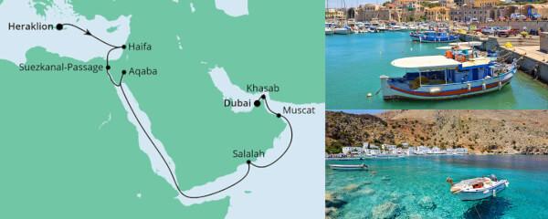 Routenverlauf Von Kreta nach Dubai 1 am 08.10.2021