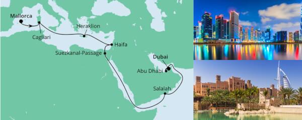Routenverlauf Von Mallorca nach Dubai 2 am 06.11.2021