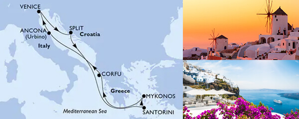 Routenverlauf MSC Mittelmeer mit MSC Opera