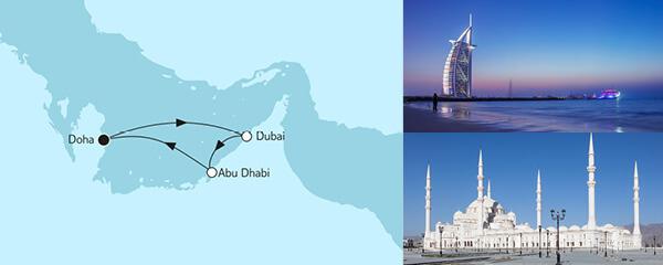 Routenverlauf Doha mit Abu Dhabi am 03.12.2022