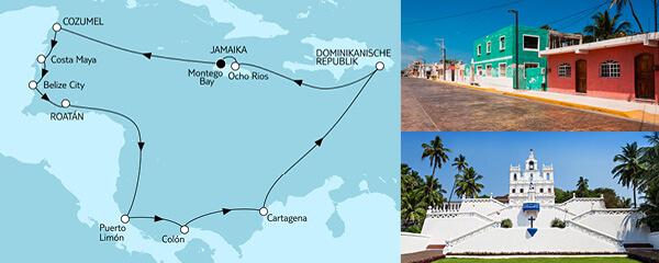 Routenverlauf Karibik & Mittelamerika II am 09.01.2023