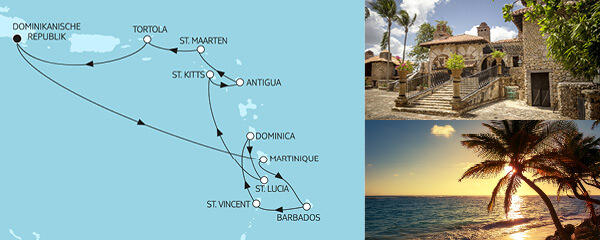 Routenverlauf Karibische Inseln I am 31.12.2021