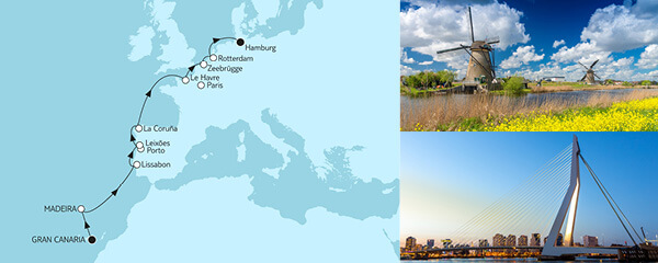 Routenverlauf Gran Canaria bis Hamburg am 24.04.2022