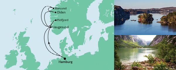 Routenverlauf Norwegens Küste am 19.02.2022