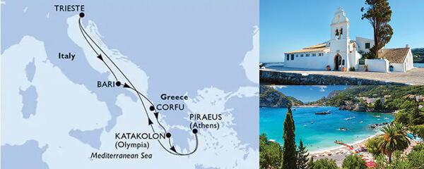 Routenverlauf MSC Östliches Mittelmeer mit MSC Magnifica