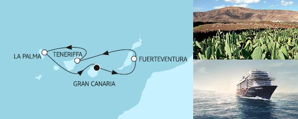 Routengrafik Blaue Reise - Kanarische Inseln 2