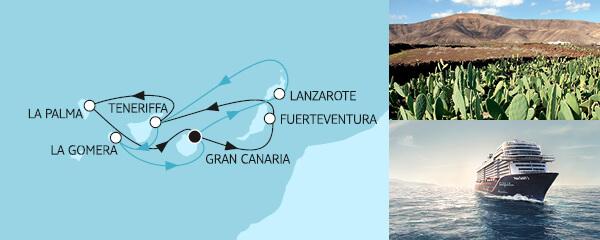 Routengrafik Blaue Reise - Kanarische Inseln 1 & 2