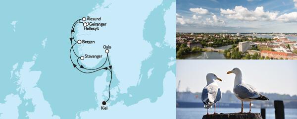Routenverlauf Norwegen mit Geirangerfjord am 12.07.2022
