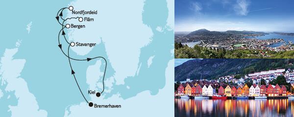 Routenverlauf Norwegen mit Flåm am 06.05.2022