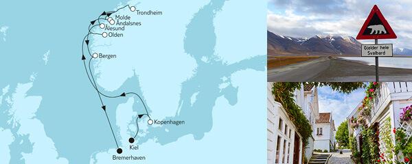 Routenverlauf Norwegen mit Trondheim am 13.05.2022