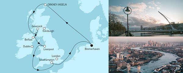 Routenverlauf Großbritannien mit Orkney-Inseln am 01.05.2022