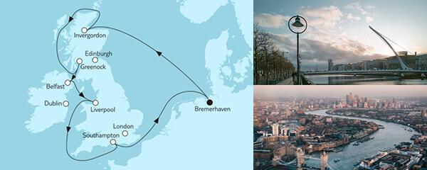 Routenverlauf Großbritannien mit Belfast I am 11.05.2022